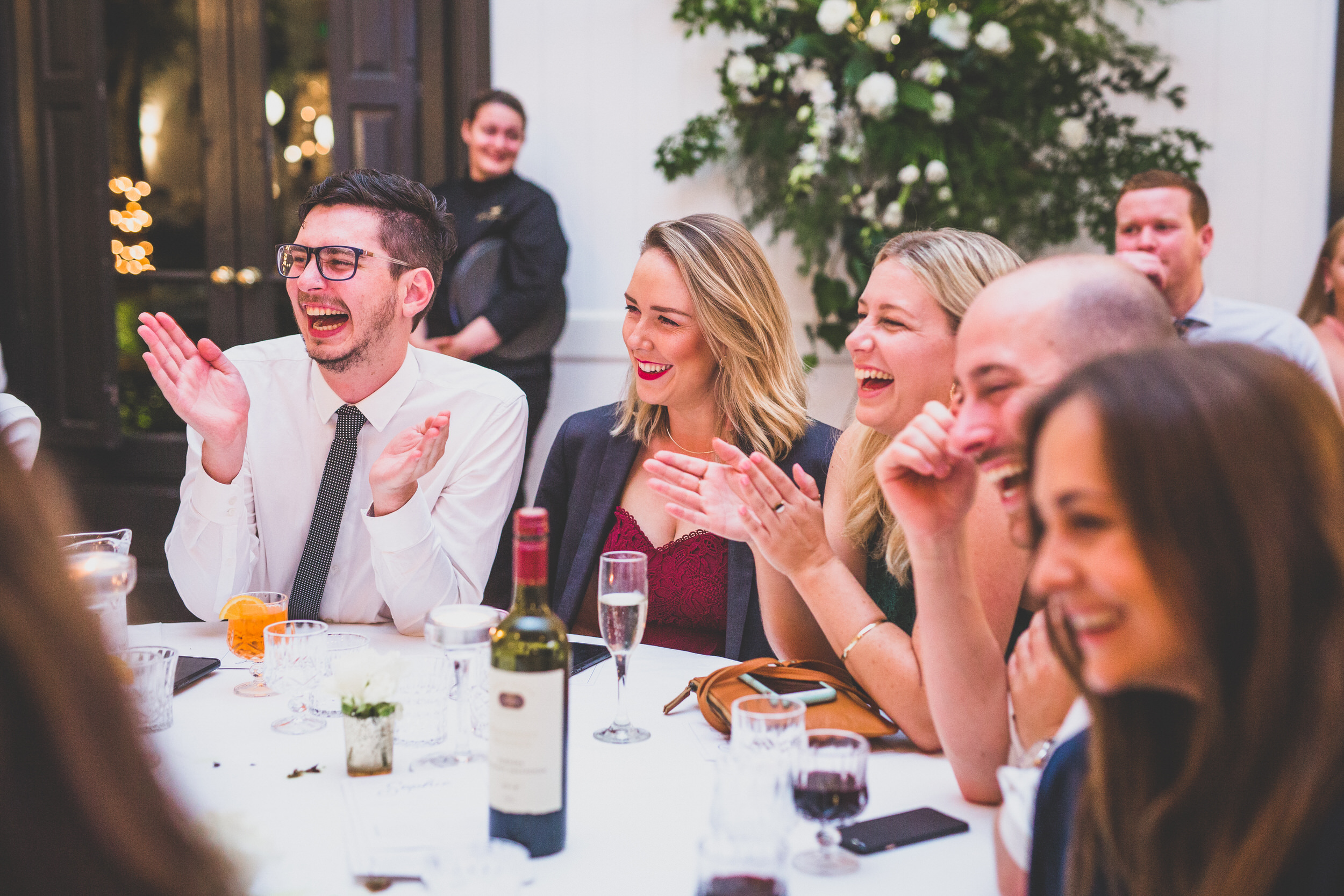 guest laughter at a wedding