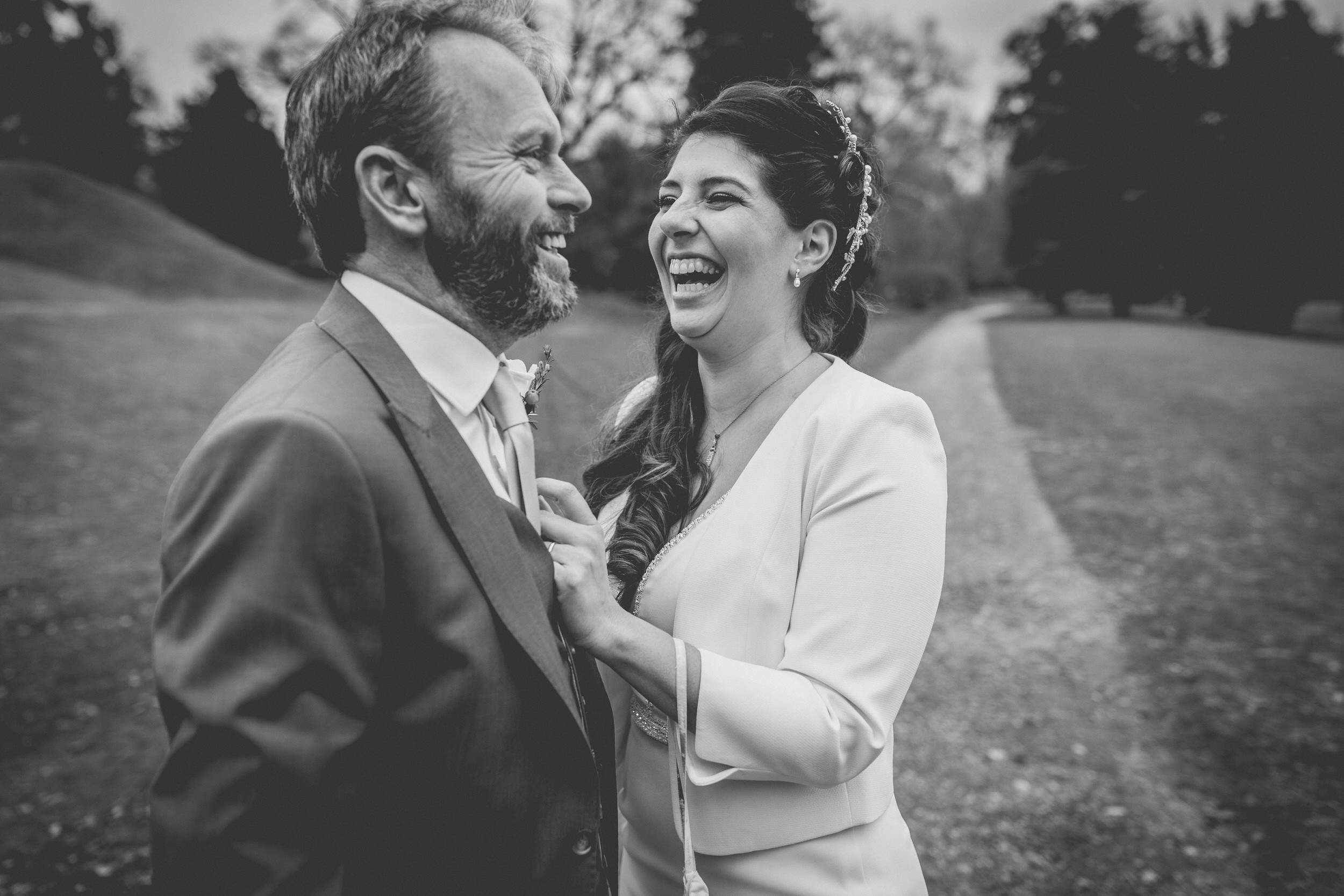 genuine laughter on their wedding day