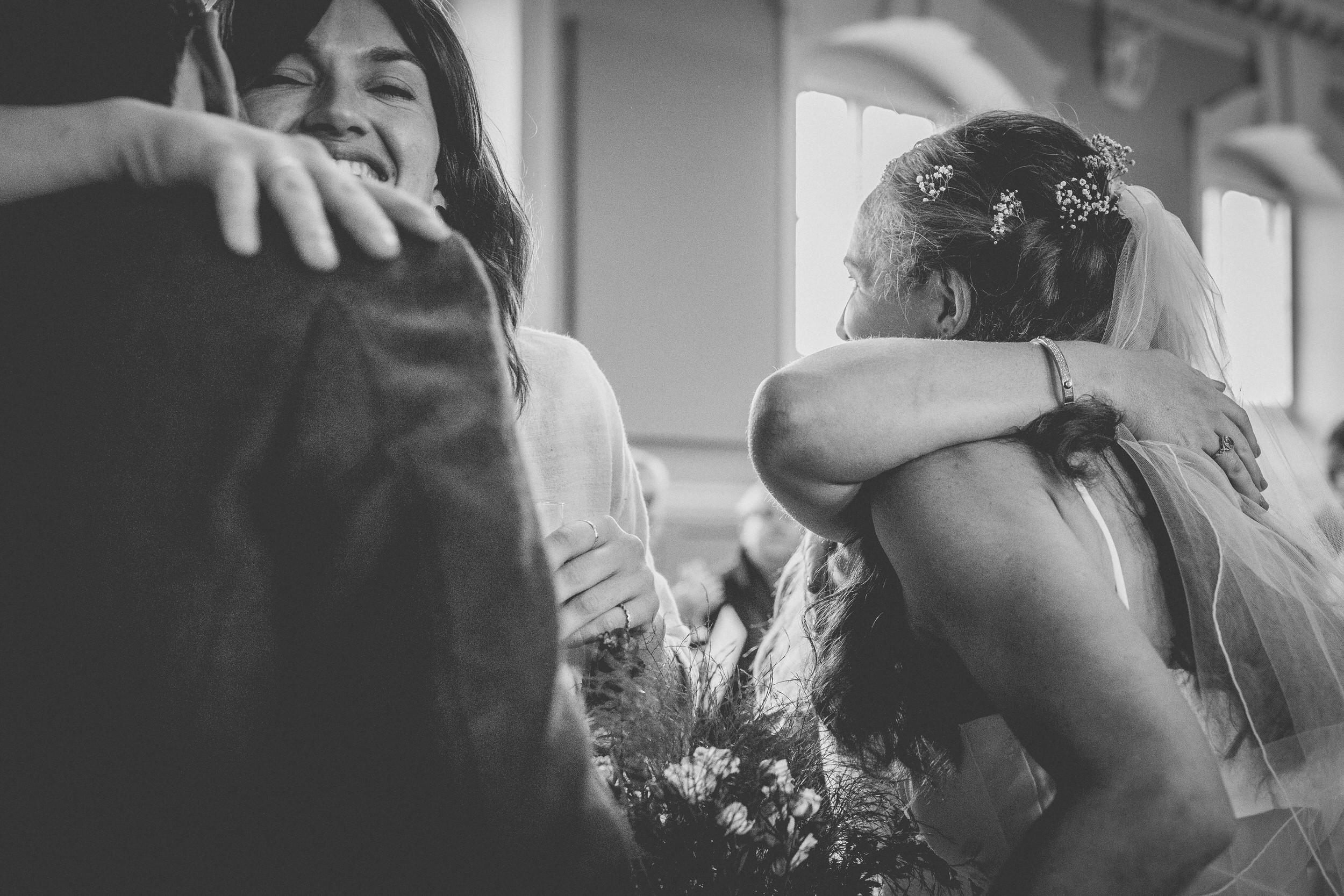wedding day emotional hugs
