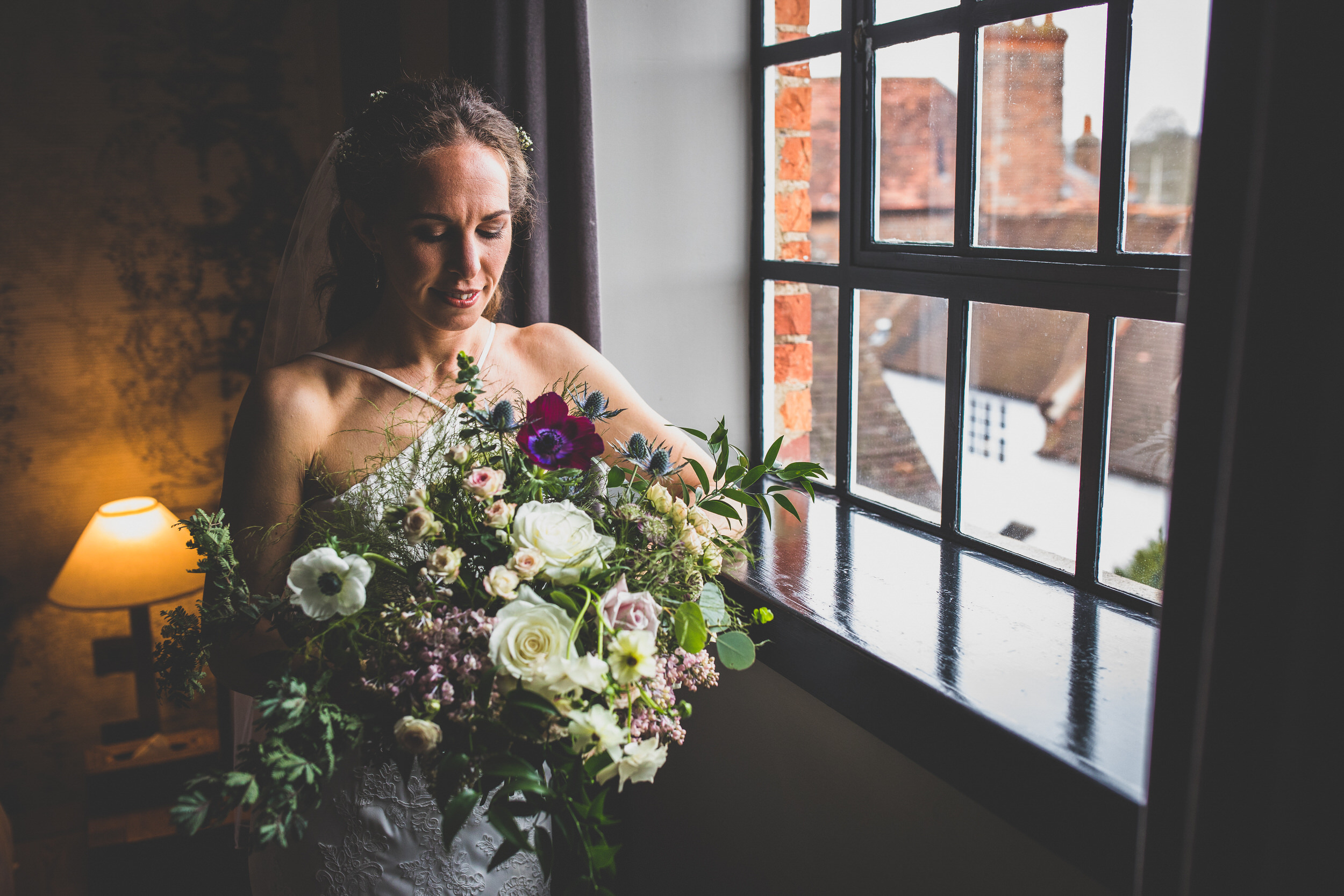 bride and beautiful flowers in the hotel