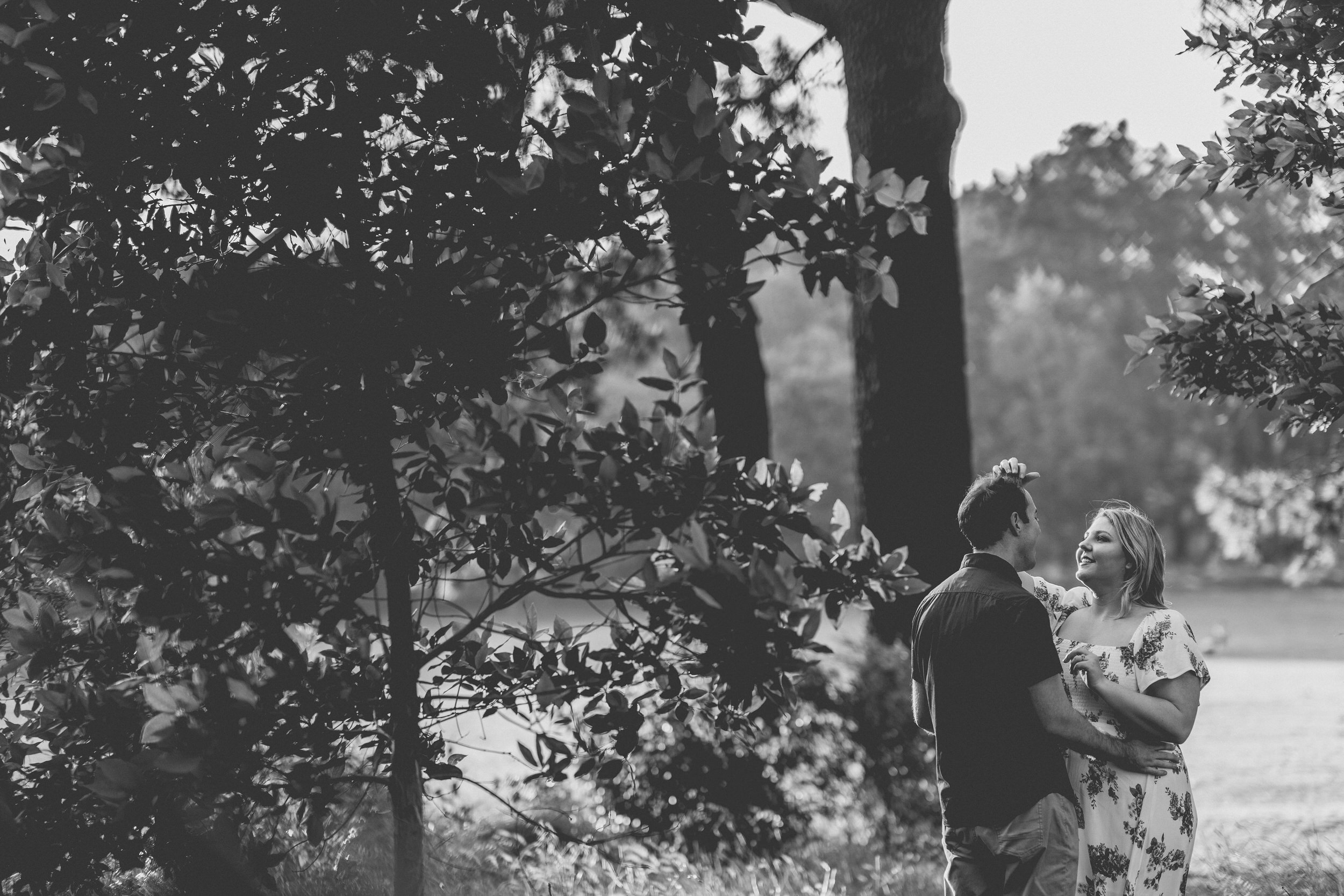 black and white Sydney engagement photo