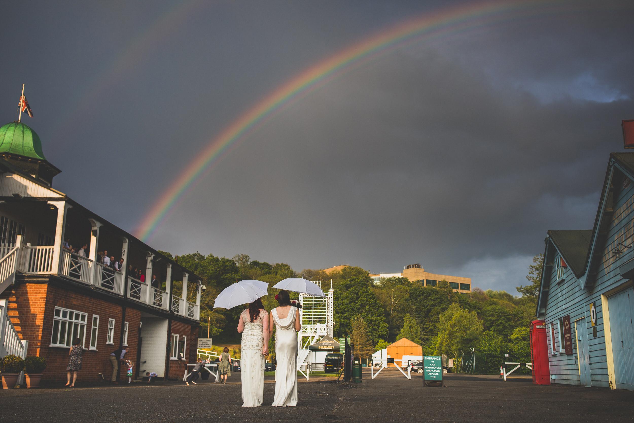 lgbt couple under rainbow